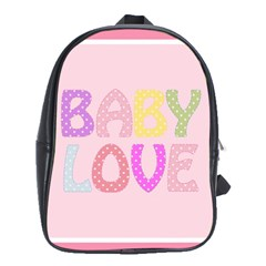 Pink Baby Love Text In Colorful Polka Dots School Bags (xl)  by Simbadda