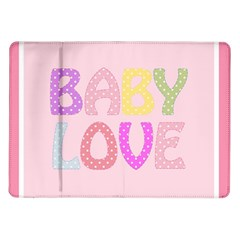 Pink Baby Love Text In Colorful Polka Dots Samsung Galaxy Tab 10 1  P7500 Flip Case by Simbadda