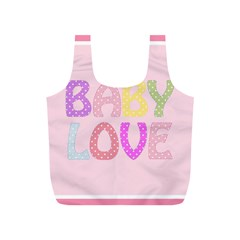 Pink Baby Love Text In Colorful Polka Dots Full Print Recycle Bags (s)  by Simbadda