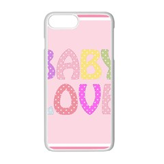 Pink Baby Love Text In Colorful Polka Dots Apple Iphone 7 Plus White Seamless Case by Simbadda