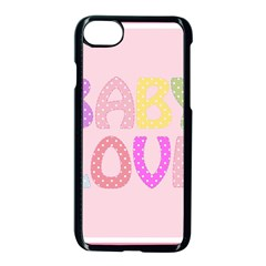 Pink Baby Love Text In Colorful Polka Dots Apple Iphone 7 Seamless Case (black) by Simbadda