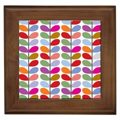 Colorful Bright Leaf Pattern Background Framed Tiles by Simbadda