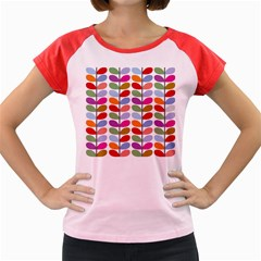Colorful Bright Leaf Pattern Background Women s Cap Sleeve T Shirt by Simbadda