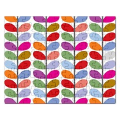 Colorful Bright Leaf Pattern Background Rectangular Jigsaw Puzzl by Simbadda