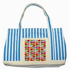 Colorful Bright Leaf Pattern Background Striped Blue Tote Bag by Simbadda