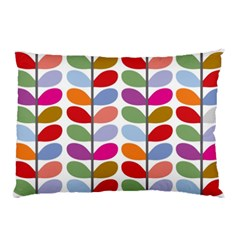 Colorful Bright Leaf Pattern Background Pillow Case by Simbadda