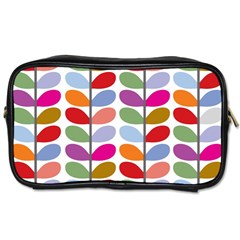 Colorful Bright Leaf Pattern Background Toiletries Bags by Simbadda