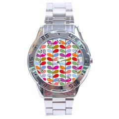 Colorful Bright Leaf Pattern Background Stainless Steel Analogue Watch