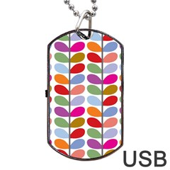 Colorful Bright Leaf Pattern Background Dog Tag Usb Flash (two Sides) by Simbadda
