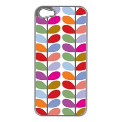 Colorful Bright Leaf Pattern Background Apple Iphone 5 Case (silver) by Simbadda