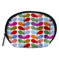 Colorful Bright Leaf Pattern Background Accessory Pouches (medium)  by Simbadda