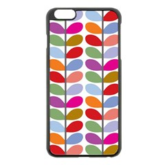 Colorful Bright Leaf Pattern Background Apple Iphone 6 Plus/6s Plus Black Enamel Case by Simbadda