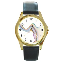 Abstract Ribbon Background Round Gold Metal Watch by Simbadda