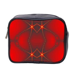 Impressive Red Fractal Mini Toiletries Bag 2 Side by Simbadda