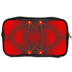 Impressive Red Fractal Toiletries Bags 2 Side