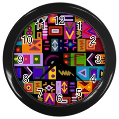 Abstract A Colorful Modern Illustration Wall Clocks (black)