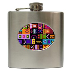 Abstract A Colorful Modern Illustration Hip Flask (6 Oz) by Simbadda