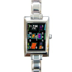 Abstract A Colorful Modern Illustration Rectangle Italian Charm Watch by Simbadda