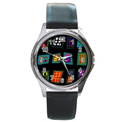 Abstract A Colorful Modern Illustration Round Metal Watch by Simbadda