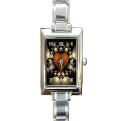 Fractal Of A Red Heart Surrounded By Beige Ball Rectangle Italian Charm Watch by Simbadda