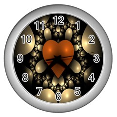 Fractal Of A Red Heart Surrounded By Beige Ball Wall Clocks (silver)  by Simbadda