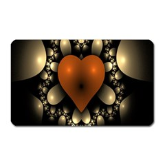 Fractal Of A Red Heart Surrounded By Beige Ball Magnet (rectangular) by Simbadda
