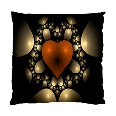 Fractal Of A Red Heart Surrounded By Beige Ball Standard Cushion Case (two Sides)