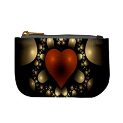Fractal Of A Red Heart Surrounded By Beige Ball Mini Coin Purses