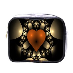 Fractal Of A Red Heart Surrounded By Beige Ball Mini Toiletries Bags by Simbadda