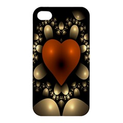 Fractal Of A Red Heart Surrounded By Beige Ball Apple Iphone 4/4s Premium Hardshell Case by Simbadda