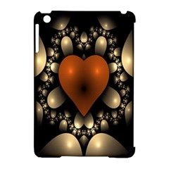 Fractal Of A Red Heart Surrounded By Beige Ball Apple Ipad Mini Hardshell Case (compatible With Smart Cover)