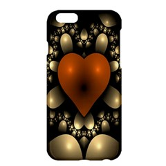 Fractal Of A Red Heart Surrounded By Beige Ball Apple Iphone 6 Plus/6s Plus Hardshell Case by Simbadda