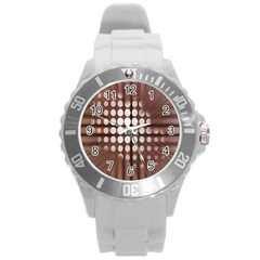 Technical Background With Circles And A Burst Of Color Round Plastic Sport Watch (l) by Simbadda