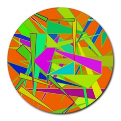 Background With Colorful Triangles Round Mousepads by Simbadda