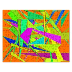 Background With Colorful Triangles Rectangular Jigsaw Puzzl by Simbadda
