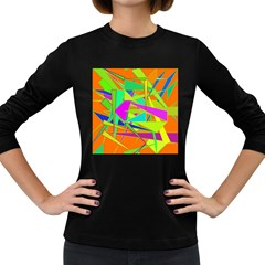 Background With Colorful Triangles Women s Long Sleeve Dark T Shirts