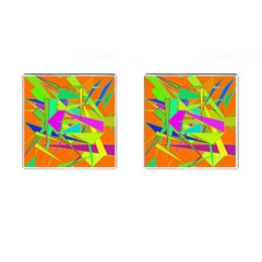 Background With Colorful Triangles Cufflinks (square) by Simbadda