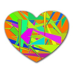 Background With Colorful Triangles Heart Mousepads