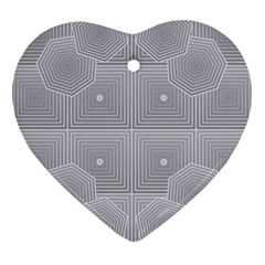 Grid Squares And Rectangles Mirror Images Colors Heart Ornament (two Sides) by Simbadda