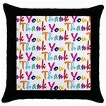 Wallpaper With The Words Thank You In Colorful Letters Throw Pillow Case (Black) Front