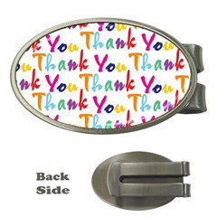 Wallpaper With The Words Thank You In Colorful Letters Money Clips (oval)  by Simbadda