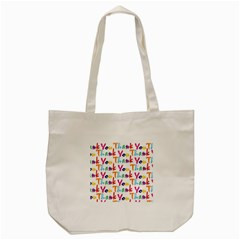 Wallpaper With The Words Thank You In Colorful Letters Tote Bag (cream) by Simbadda