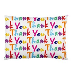 Wallpaper With The Words Thank You In Colorful Letters Pillow Case by Simbadda
