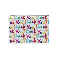 Wallpaper With The Words Thank You In Colorful Letters Cosmetic Bag (medium)  by Simbadda