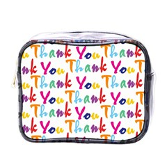 Wallpaper With The Words Thank You In Colorful Letters Mini Toiletries Bags by Simbadda