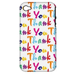Wallpaper With The Words Thank You In Colorful Letters Apple Iphone 4/4s Hardshell Case (pc+silicone) by Simbadda