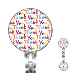 Wallpaper With The Words Thank You In Colorful Letters Stainless Steel Nurses Watch
