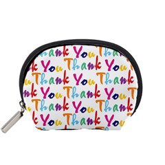 Wallpaper With The Words Thank You In Colorful Letters Accessory Pouches (small)  by Simbadda
