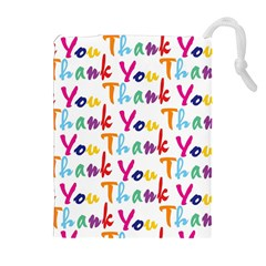 Wallpaper With The Words Thank You In Colorful Letters Drawstring Pouches (extra Large) by Simbadda