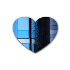 Modern Office Window Architecture Detail Rubber Coaster (heart)  by Simbadda